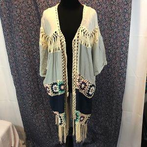 NWT Umgee Crotchet Kimono/Cardigan/Duster SML